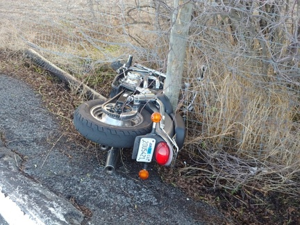 1 motorcycle into fencepost